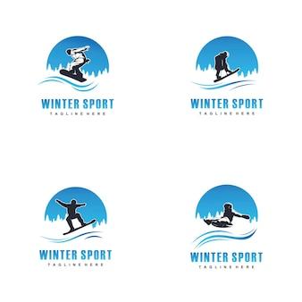 Modello di progettazione di logo di sport invernali