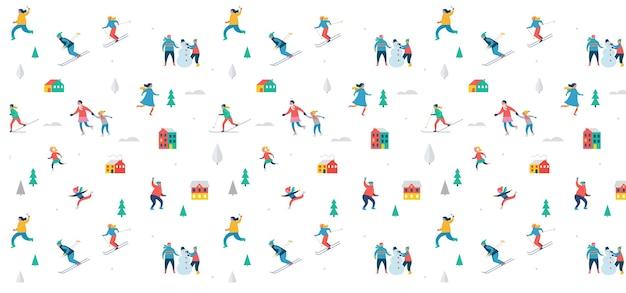 Scena di sport invernali, festa e fiera di natale, famiglie con bambini si divertono