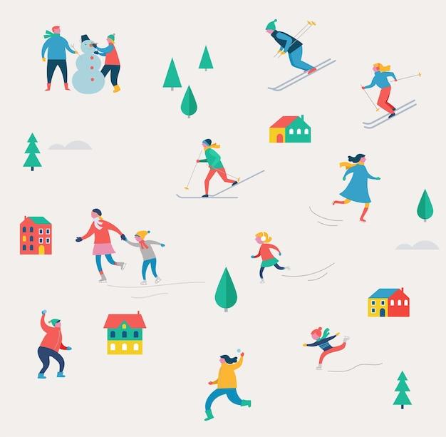 Scena di sport invernali, evento di strada di natale, festival e fiera, con persone, famiglie che si divertono