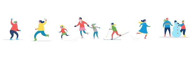 Scena di sport invernali, evento di strada di natale