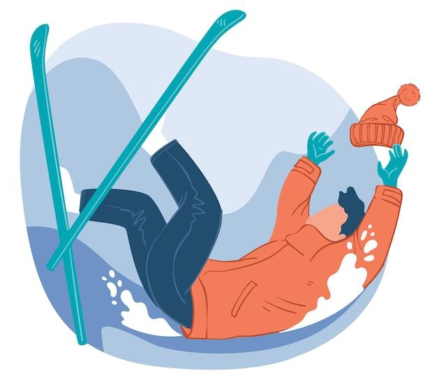 Sport invernali e attività all'aria aperta pratica e padronanza delle abilità. sciatore che cade in pendio o collina nevoso. avventure e stile di vita in inverno. hobby estremi. vettore in stile piatto