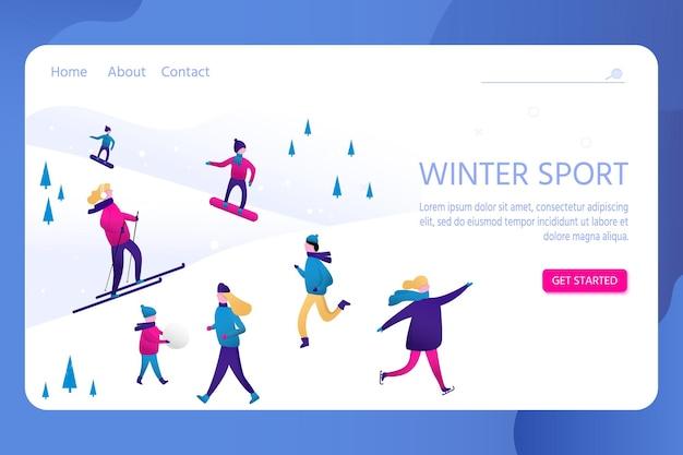 Sport invernali con persone, uomini e donne, bambini e famiglia. scena vettoriale con sci, pattinaggio, snowboard. personaggi piatti nella stazione sciistica. design natalizio per landing page, poster, banner.