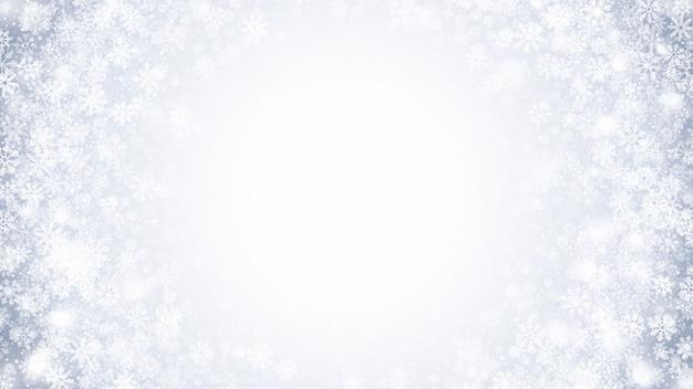 Inverno vorticoso effetto neve con fiocchi di neve bianchi decorazione di natale sfondo sottile