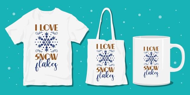 Disegni di merchandise di magliette invernali Vettore Premium