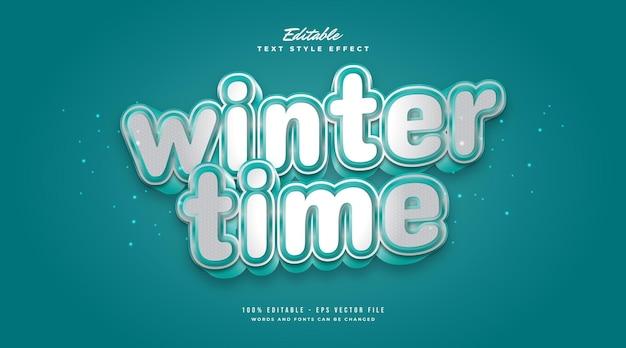 Stile di testo invernale in bianco e blu con effetto freddo e 3d. effetto stile testo modificabile