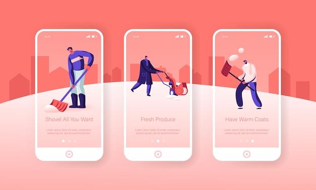 Insieme della schermata a bordo della pagina dell'app mobile per l'attività dell'ora invernale.