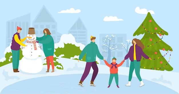 Illustrazione di orario invernale, le persone si divertono nella neve.