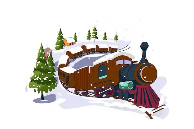 Vettori piatti di buon natale del treno invernale