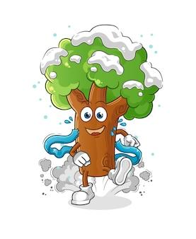 Carattere del corridore dell'albero di inverno. mascotte dei cartoni animati