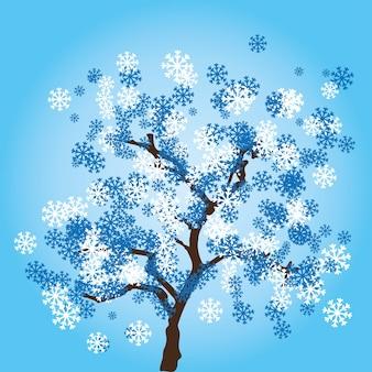 Albero invernale con foglie di fiocchi di neve.