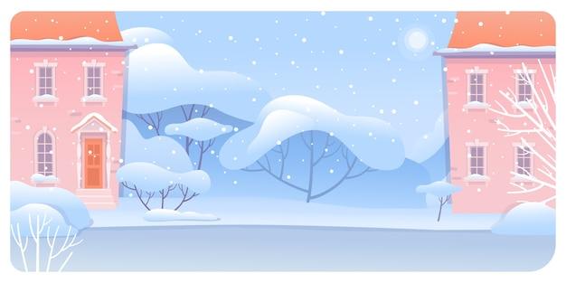 Illustrazione del paesaggio urbano di inverno, via della città coperta di neve.