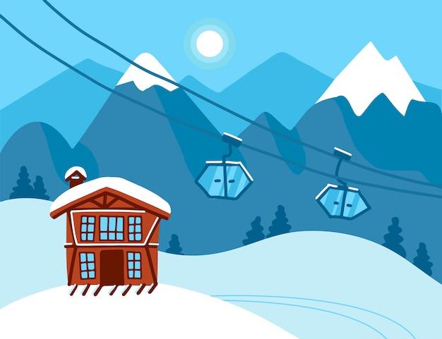 Paesaggio di vacanze invernali. scena di concetto della stazione sciistica della montagna. paesaggio invernale con funicolari, impianti di risalita, montagne, casa e neve. neve tempo di fondo. illustrazione piatta.