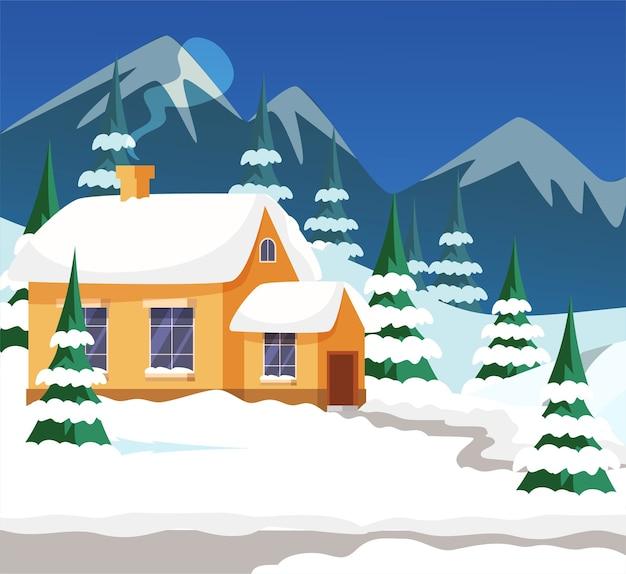 Illustrazione esterna della casa del villaggio di inverno