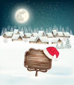 Fondo di notte del villaggio di inverno con il segno di legno. vettore.