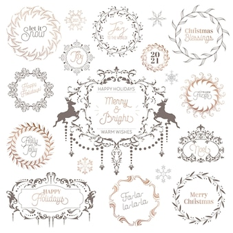 Ghirlanda vintage invernale, tipografia calligrafica natalizia, etichette di capodanno, elementi di design di distintivi, decorazioni natalizie, turbinii, cornici per invito, auguri di natale. insieme dell'illustrazione di vettore