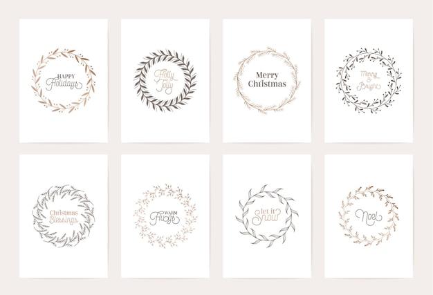 Modello di ghirlanda vintage invernale, carta calligrafica botanica vettoriale di natale, decorazione di cornici floreali, turbinii di illustrazione di fogliame dorato, invito, matrimonio, album di ritagli, auguri di lusso per le vacanze di natale