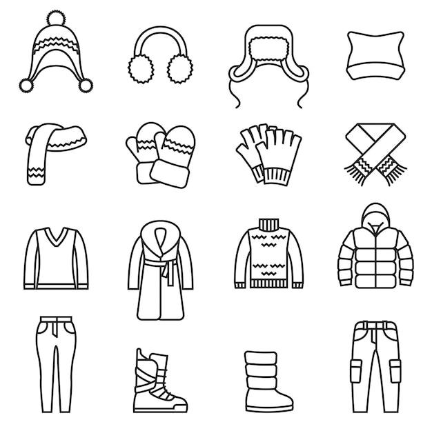 Inverno, set di icone isolate vestiti caldi.