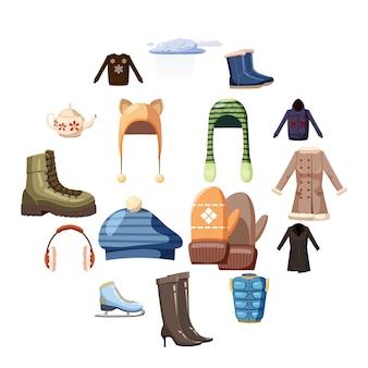 Set di icone di abbigliamento invernale, stile cartoon