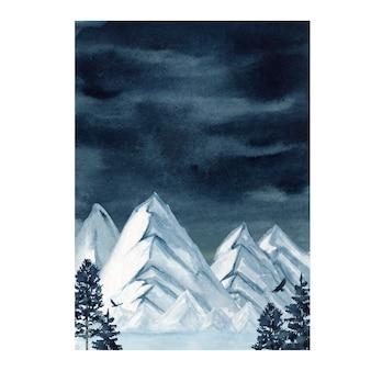 Illustrazione di montagne della foresta selvaggia di inverno