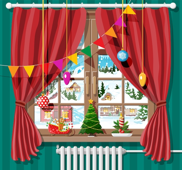 Finestra invernale con tende rosse e vista dalla camera
