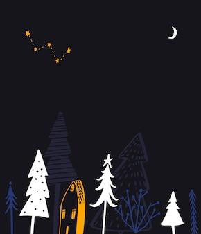 Illustrazione del paese delle meraviglie invernale foresta notturna e piccola casa disegnata a mano per il testo di saluto