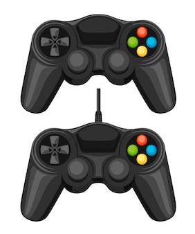 Game pad cablato e wireless. controller per videogiochi nero. gamepad per pc o console di gioco. illustrazione su sfondo bianco.