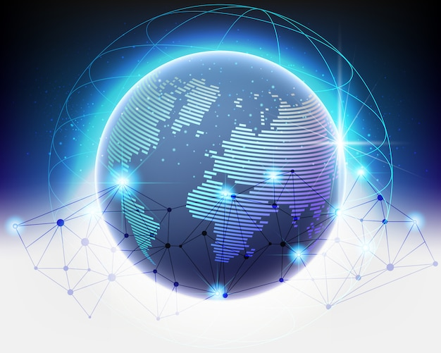 Wireframe global e cloud computing network