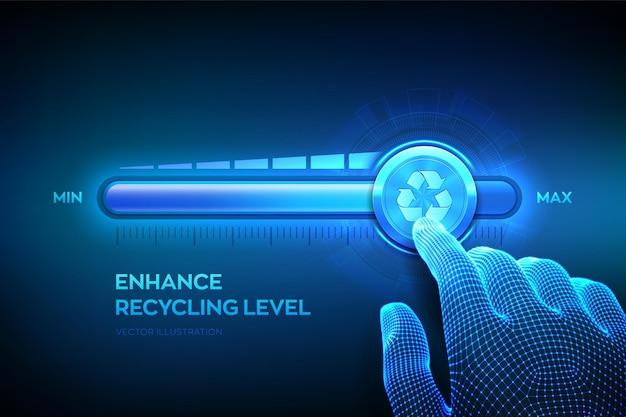 La mano wireframe sta tirando verso l'alto la barra di avanzamento della posizione massima con l'icona di riciclaggio