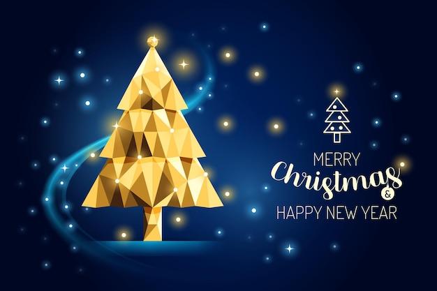 Wireframe merry christmas tree lusso oro geometria concept design.vector illustrazione. Vettore Premium
