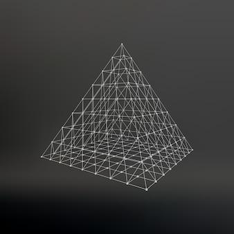 Maglia wireframe piramide poligonale piramide delle linee punti collegati reticolo atomico