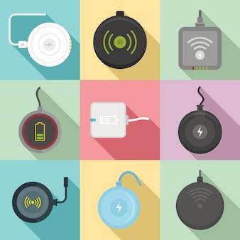 Set di icone di caricabatterie wireless, stile piano