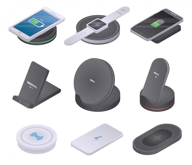 Set di icone caricabatterie wireless, stile isometrico