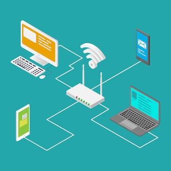 Concetto wireless di design isometrico