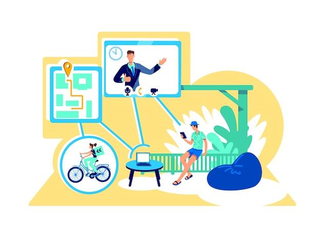 Concetto piatto di connessione wireless. navigare in internet. accesso ai servizi in linea. personaggi dei cartoni animati 2d utente wi fi
