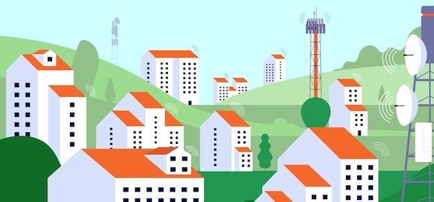 Paesaggio di internet senza fili. apparecchiature internet, torre della tv satellitare radio nel villaggio. illustrazione di vettore dell'infrastruttura di telecomunicazione. internet wireless digitale, copertura del paesaggio urbano