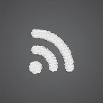 Icona di doodle del logo schizzo wireless isolato su sfondo scuro