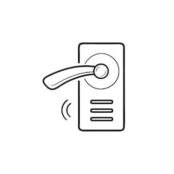 Icona di doodle di contorno disegnato a mano serratura intelligente senza fili. sistema di chiusura intelligente, concetto di maniglia della porta senza fili