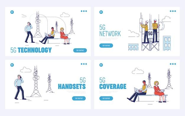 Concetto di tecnologia wireless. pagina di destinazione del sito web.