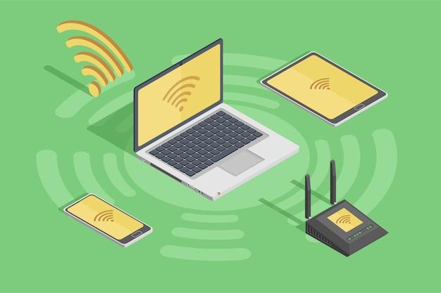 Poster di dispositivi di tecnologia wireless stile con il router di smartphone portatile e internet wifi