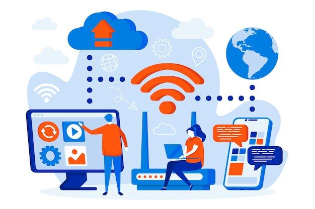 Web design di tecnologia wireless con illustrazione di personaggi di persone