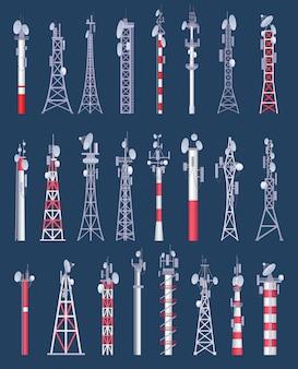 Torre wireless. torri di comunicazione cellulare wifi radio e tv con collezione antena