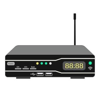 Dispositivo di controllo wireless tv isolato su bianco. ricevitore satellitare con display e antenna. una custodia scura con porte usb e pulsanti di controllo. vettore eps 10.