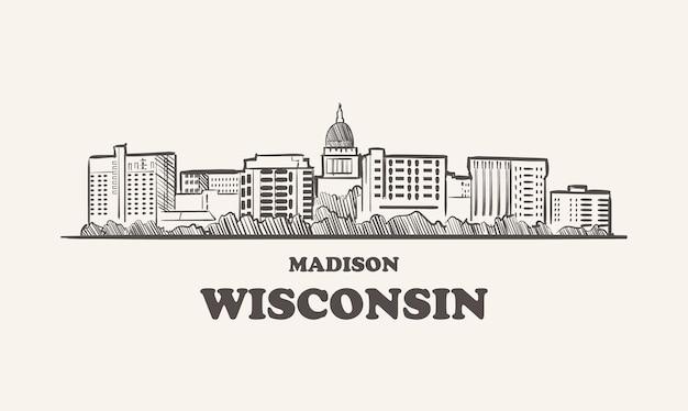 Schizzo disegnato di wisconsin skyline madison