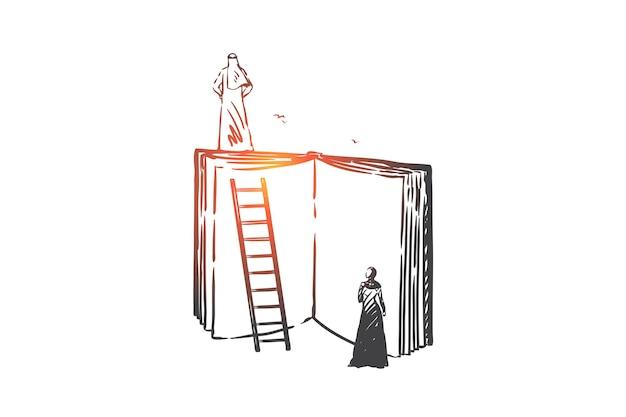 Saggezza, mentoring, illustrazione del concetto di aspirazioni