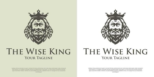 Design del logo della testa del re saggio
