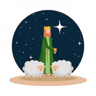Uomo saggio con pecore durante la notte