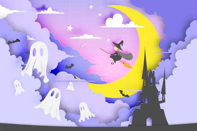 Strega sullo stile di arte di carta scopa con sorriso zucca e il castello per la festa di halloween