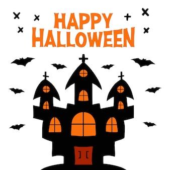 Castello della strega con pipistrelli volanti. happy halloween scritte ed elementi a croce nera. biglietto di auguri vacanza.