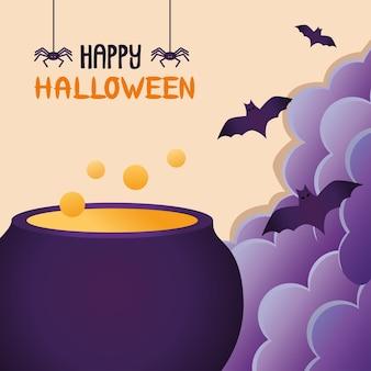 Vaso e pipistrelli del calderone della strega che volano