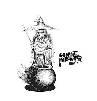 Pozione di cottura della strega in pentola e testo happy halloween, illustrazione vettoriale di schizzo disegnato a mano.